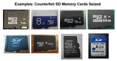 Examples: Counterfeit SD Memory Cards Seized